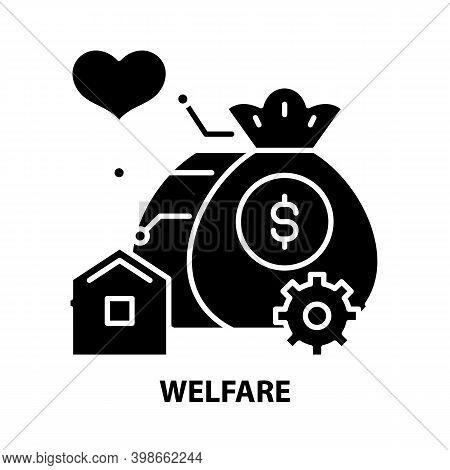 Welfare Icon, Black Vector Sign With Editable Strokes, Concept Illustration