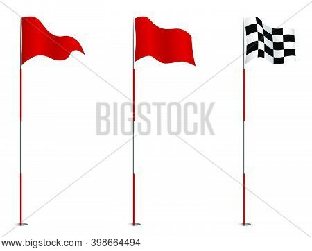 Triangular Red And Finishing Golf Flag On Pole. Golf Hole On Course Marked With Red Flag. Active Lif