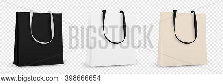 Shopping Bag White Recycle Bag. Textile Tote Bag For Shopping Mockup. Vector Illustration Isolated.