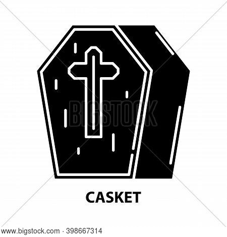 Casket Icon, Black Vector Sign With Editable Strokes, Concept Illustration