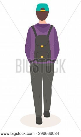 Man Or Woman Short-haired In Casual Clothes In A Cap Going With A Backpack On The Back Flat Style. R
