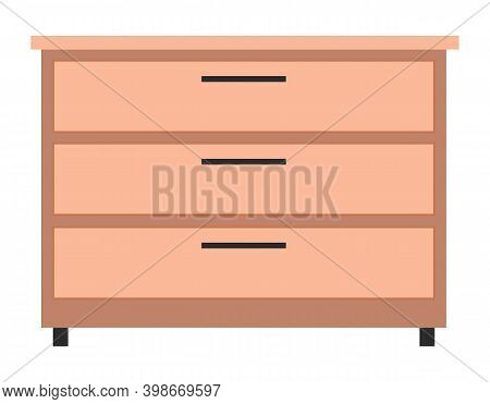 Wooden Light Brown Chest Of Drawers. Made Of Natural Materials. Bedside Table, Commode Furniture Iso