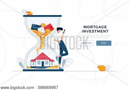 Mortgage Investment Landing Page Template. Investor Awaits A Generating Income From Long-term Invest