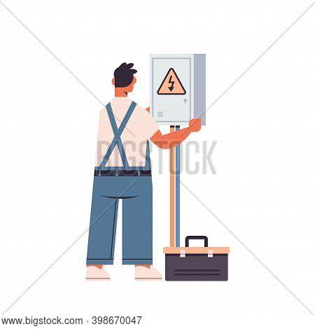 Professional Electrician Or Electric Repairman In Uniform Repairing Electrical Box Repair Service El