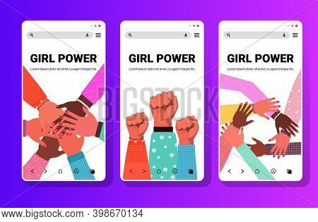 Set Hands Of Mix Race Group Of Women Putting Together Female Empowerment Movement Girl Power Union O