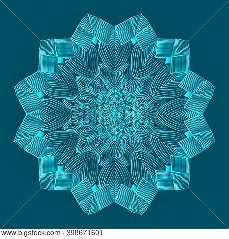 Islamic Luxurious Background Design Of Arabesque Greenish Blue Color Ornamental Floral Abstract Mand