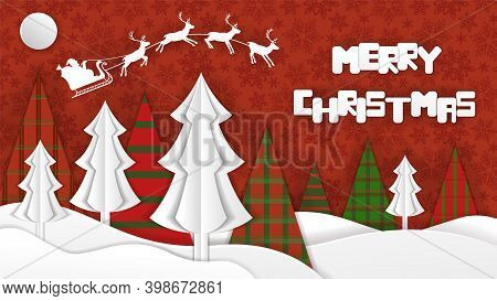 Merry Christmas Holiday Banner. Poster In Cutout Paper Style. Spruce Trees, Snowdrifts, And Santa's