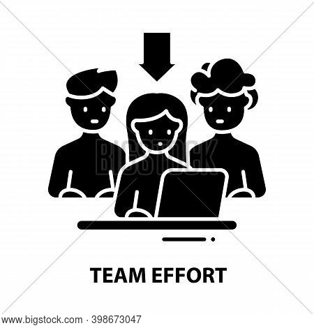 Team Effort Icon, Black Vector Sign With Editable Strokes, Concept Illustration