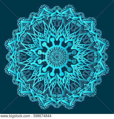Premium Arabesque Greenish Blue Color Ornamental Background Design And Floral Islamic Abstract Manda
