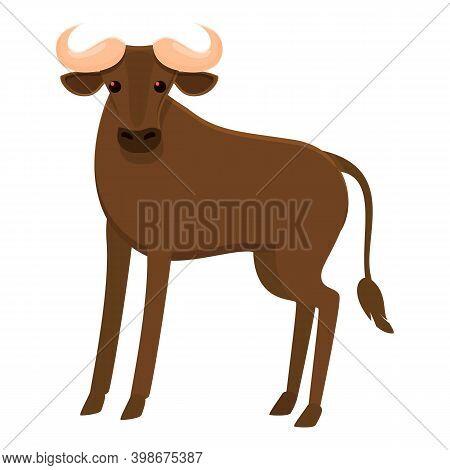 Zoo Wildebeest Icon. Cartoon Of Zoo Wildebeest Vector Icon For Web Design Isolated On White Backgrou