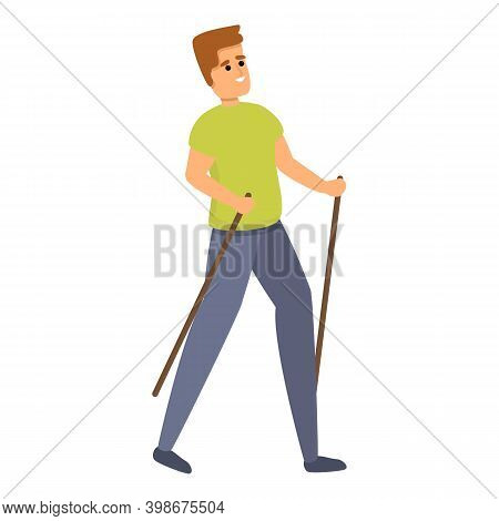 Nordic Walking Icon. Cartoon Of Nordic Walking Vector Icon For Web Design Isolated On White Backgrou
