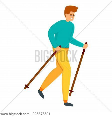 Summer Nordic Walking Icon. Cartoon Of Summer Nordic Walking Vector Icon For Web Design Isolated On