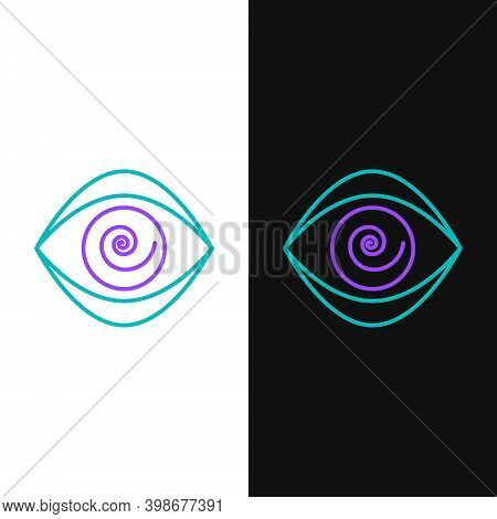 Line Hypnosis Icon Isolated On White And Black Background. Human Eye With Spiral Hypnotic Iris. Colo