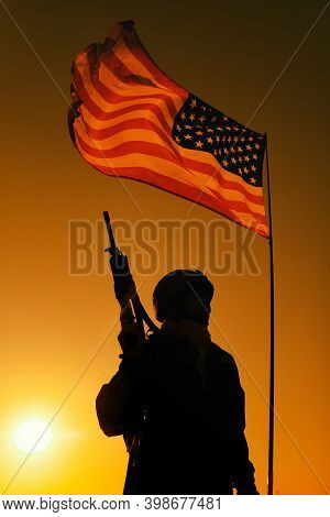 Silhouette Of Us Army Infantry Soldier, Special Forces Rifleman Veteran, Armed Assault Rifle Standin