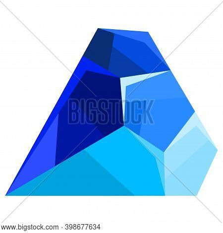 Blue Precious Sapphire Isolated On A White Background. Shining Blue Jewel, Colorful Gemstone. Vector