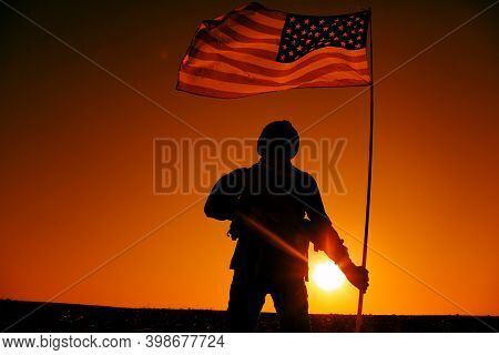 Silhouette Of Us Army Soldier, Special Operations Shooter Holding Waving On Flagpole National Flag W