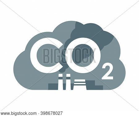 Co2 Carbon Dioxide Emissions Icon - Harmful Air Carbon Contamination Emblem With Smoking Cooling Tow