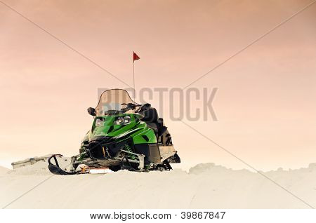 Green snowmobile