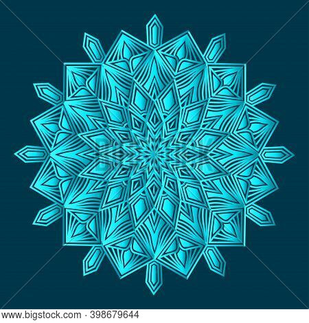 Luxurious Ornamental Background Design Of Arabesque Greenish Blue Color And Islamic Floral Abstract