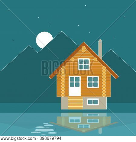 Vector Landscape With Night Mountain Landscape And A Wooden Log House On The Banks Of A River Or Lak
