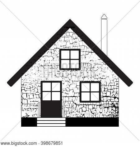 Isolated Black Outline Abstract House, Flat, Linear, Can Be Used For Print On T-shirt Banner, Busine