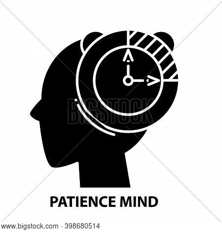 Patience Mind Icon, Black Vector Sign With Editable Strokes, Concept Illustration