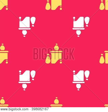 Yellow Dumpsters Being Full With Garbage Icon Isolated Seamless Pattern On Red Background. Garbage I