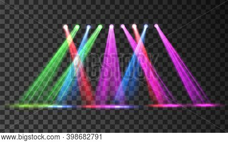 Disco Club Colorful Stage Spotlight. Vector Illustration With Transparent Background. Spot Light Neo