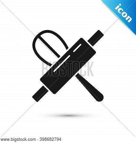 Grey Kitchen Whisk And Rolling Pin Icon Isolated On White Background. Cooking Utensil, Egg Beater. C