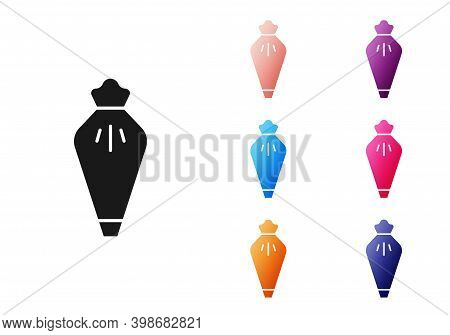 Black Pastry Bag For Decorate Cakes With Cream Icon Isolated On White Background. Kitchenware And Ut