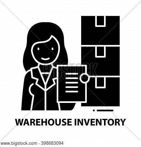 Warehouse Inventory Icon, Black Vector Sign With Editable Strokes, Concept Illustration