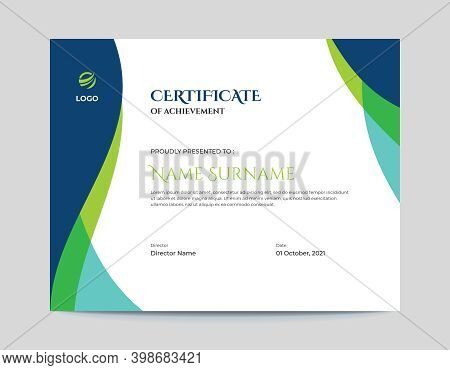 Abstract Colored Blue And Green Waves Certificate Design Template Letter Size 11x8.5 With .125 Bleed