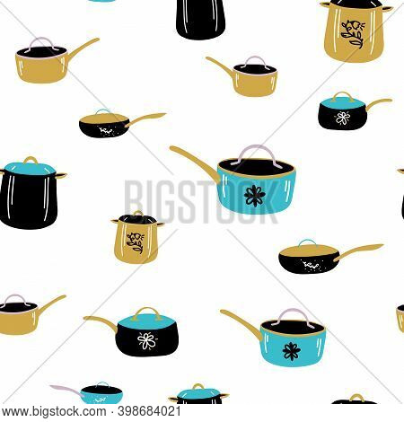 Doodle Background Cute Cooking Pots Saucepan Skillet. Seamless Vector Pattern. Trendy Background For