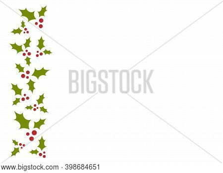 Red And Green Holly Berry Border On White Background. Winter Horizontal Wallpaper.