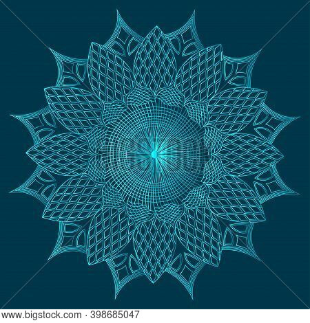 Islamic Greenish Blue Color Geometric Line Art Background With Luxurious Floral Mandala Design