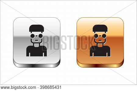 Black Nerd Geek Icon Isolated On White Background. Silver-gold Square Button. Vector