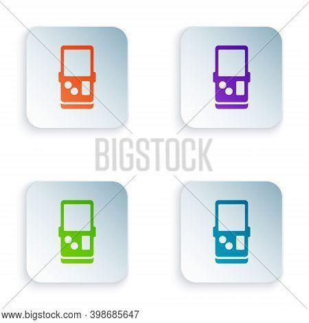 Color Portable Tetris Electronic Game Icon Isolated On White Background. Vintage Style Pocket Brick