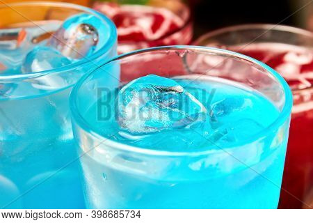 Multicolored Alcoholic And Non-alcoholic Cocktails With Ice