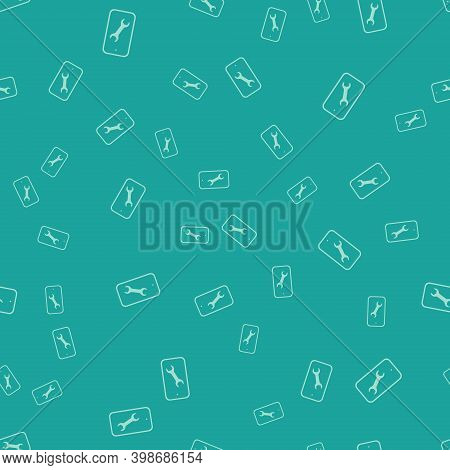 Green Mobile Phone With Wrench Icon Isolated Seamless Pattern On Green Background. Adjusting, Servic