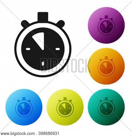 Black Stopwatch Icon Isolated On White Background. Time Timer Sign. Chronometer Sign. Set Icons In C