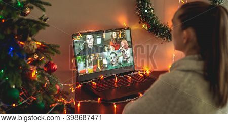Woman Is Communicating Remotely With Her Friends And Family And Congratulates Them. Holiday Parties