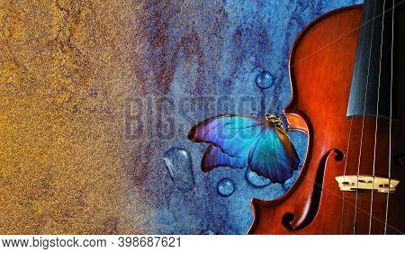 Violin On Watercolor Background Closeup. Beautiful Blue Butterfly Morpho On Violin. Music Concept. C