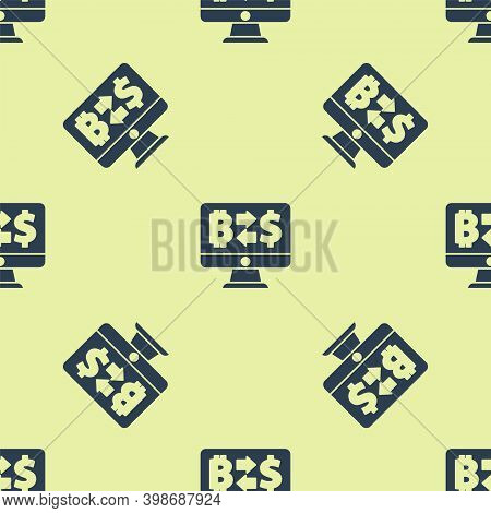 Blue Cryptocurrency Exchange Icon Isolated Seamless Pattern On Yellow Background. Bitcoin To Dollar