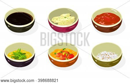 Big Set Of Asian Sauces, Pastes, Condiments, Seasonings In Bowls Soy, Cheese, Honey Mustard, Kimchi,