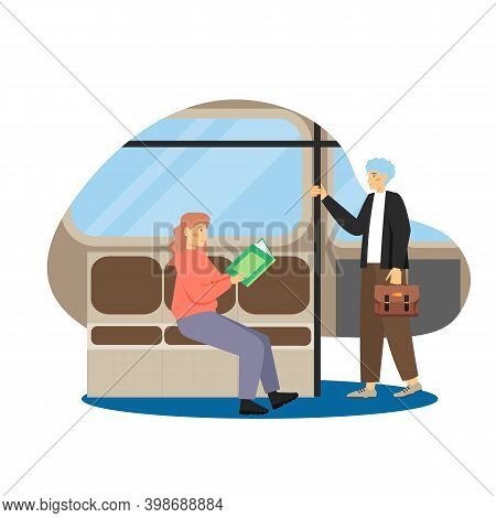 Daily Life. Young Man And Woman Commuting To And From Work, Flat Vector Illustration.