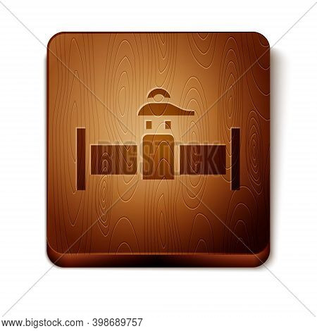 Brown Industry Metallic Pipe And Valve Icon Isolated On White Background. Wooden Square Button. Vect