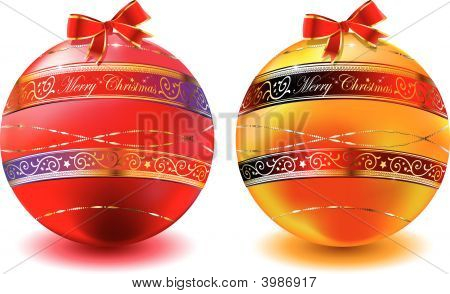 Christmas Spheres Red And Gold