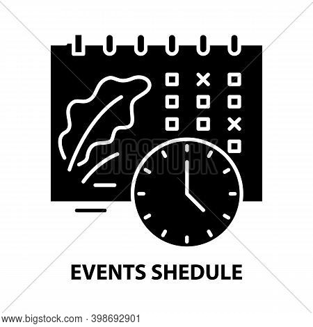 Events Shedule Icon, Black Vector Sign With Editable Strokes, Concept Illustration