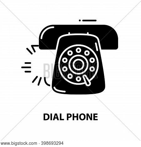 Dial Phone Icon, Black Vector Sign With Editable Strokes, Concept Illustration