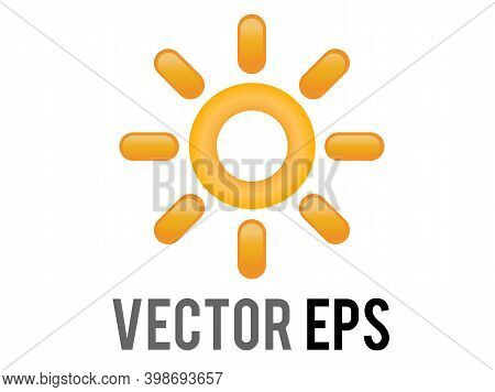 Vector Gradient Shinny Orange Sun Or Hot Weather Icon With Eight Triangular Rays